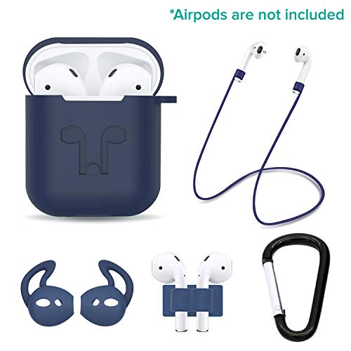 (Casism AirPods Case 5 in 1 Airpods Accessories Kits Protective Silicone Case and Cover for Charging Case with Airpods Strap/Airpods Ear Hooks/Anti-Lost Carabiner/Airpods Watch Band Holder)