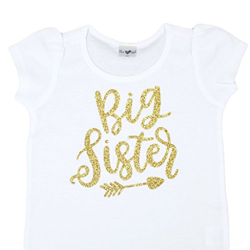 Big Sister Shirt for Toddler Girls Girls Siblings Glitter Gold Big Sister Shirt with Puff Sleeves, Gold, 3T