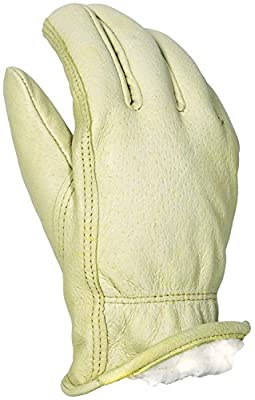 Apollo Performance Gloves Work Glove, Leather Drivers, Pigskin, Sherpa Lined, Tan
