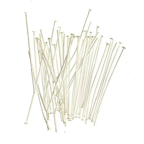 Beautiful Bead 20mm Silver Plated Head Pins Needles for Earrings Jewelry Making (Aobut 100pcs)