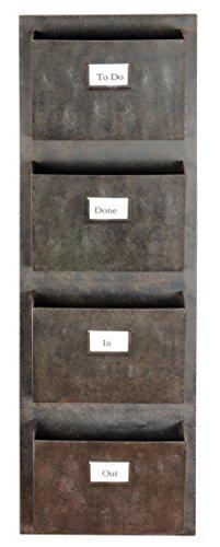 Linon AHWM12401 4 Slot Hanging Metal Mailbox 145quot W x 4quot D x 46quot H Gray
