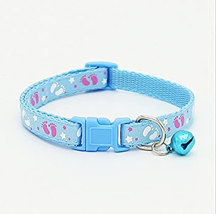 Amazon.com : YOIOY Comfortable Cat Collars Child Footprints Pet Collar Adjustable Cat Collar with Bell Necklace Collar for Cats (Blue) : Pet Supplies