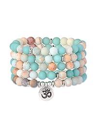 Thunaraz 108 Mala Beads Wrap Bracelet Necklace for Yoga Meditation Rosary Bracelet Jewelry for Women Men