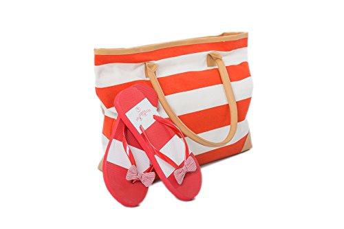 Bolsa de Playa Para Mujer + Chanclas 2 Piezas Rayas Naúticas EU 38-39 Airee Fairee Rojo