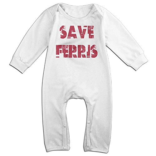 KIDDOS Baby Infant Romper Ferris Bueller's Day Off Long Sleeve Jumpsuit Costume,White 18 Months (Fairy Tales Costumes For Boys)