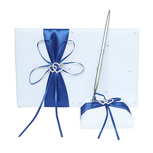 Ribbon Guest Book - Guest Book and Pen Set Holder with Pen, Hardcover with Satin Ribbon Bow and Rhinestone Heart Signs for Rustic Wedding Ceremony Party Favor-Dark Blue, 72 Pages