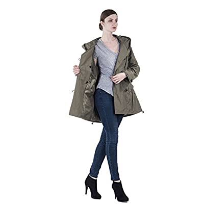 Infron IN FRONT Women Plus Size Elegant Hooded Single-Breasted Anorak Coat: Clothing