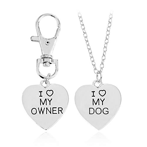 Romanticworks 2pcs Best Friends Friendship Love Heart Necklace Key Chain Owner and Dog Letter Pendant Set
