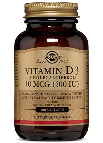 Solgar Vitamin D3 (Cholecalciferol) 10 MCG (400 IU) Softgels - 100 Count