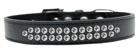 Mirage Pet Products Two Row Clear Crystal Black Dog Collar, Size 20 by Mirage Pet Products