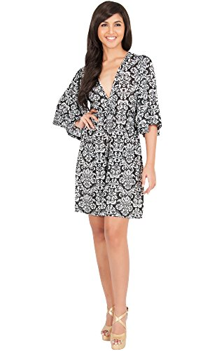 KOH KOH Petite Womens Long Kimono 3/4 Sleeve Print Printed V-Neck Casual Vintage Summer Beach Sun Maternity Cute Short Knee Length Mini Midi Sundress Dress Dresses, Black and White XS (Vintage Kimono Print Dress)