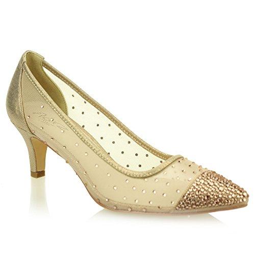 Brautschuhe Gold Dame Frauen Silber Heel Court Diamante Abend Hochzeit Schwarz Abschlussball Aarz Sandale Größe Champagner Party Low P15OxgPq