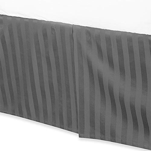Levinsohn Textile Company 100 Percent Cotton 500 Thread Count Damask Stripe 15-inch Drop Bed Skirt Black King (500 Thread Count Damask Stripe Bed Skirt)