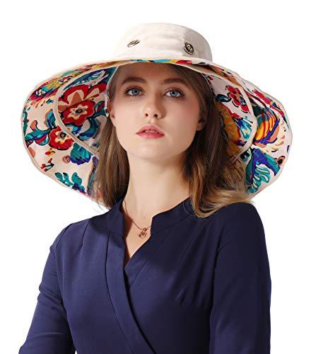 iHomey Packable Extra Large Brim Floppy Sun Hat Reversible UPF 50+ Beach Sun Bucket Hat Beige ()