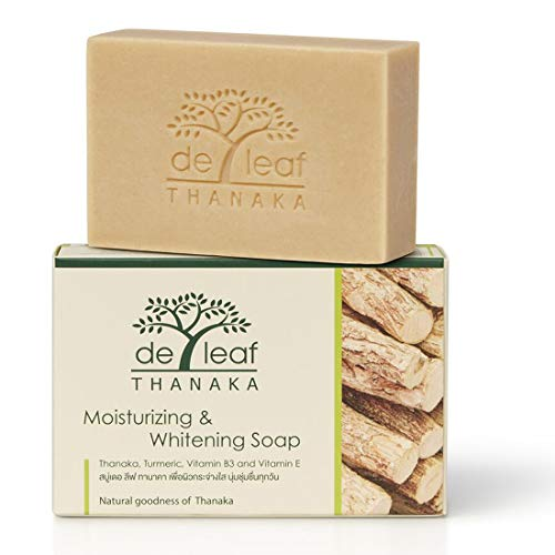 De Leaf Thanaka Natural Moisturizing Whitening Bar Soap, Vitamin B3 E Beauty Deep Cleansing Hydration Moisturize Clean Natural Face Facial Body Skin Soap, 100g 3 Pack Count Thanaka