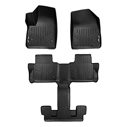 MAX LINER A0230/B0230 Custom Fit Floor Mats 3 Liner Set Black for 2017-2019 GMC Acadia with 2nd Row Bucket Seats