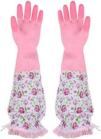 WuMin 多機能の暖かい肥厚家庭用手袋の厚く、長い保護手(ピンクと緑の2色はオプションです) (Color : Pink)