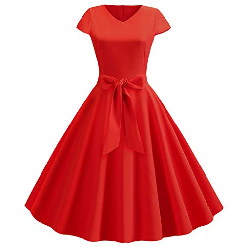 - Womens Vintage Swing 50s Housewife Skater Dress,Ladies Short Sleeve Casual Evening Party Prom Midi Smock Dresses Sunmoot Red