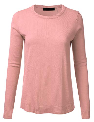 Women's Crewneck Long Sleeve Soft Pullover Knit Sweater Top with Ribbed Trim Peach S