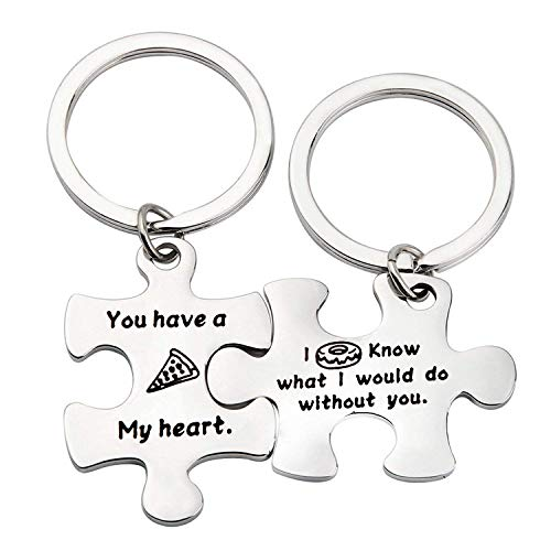 ENSIANTH Puzzle Piece Keychains Pizza Donut Gift You Have a Pizza My Heart I Donut Know What I Would do Without You Keychain, Food Lover Gift (Pizza Donut -