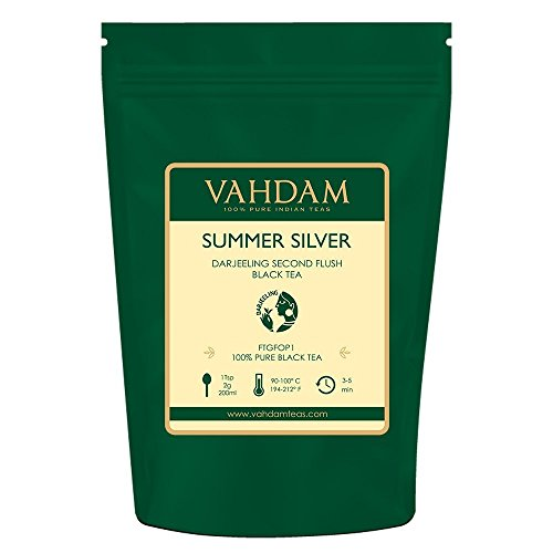 VAHDAM, Second Flush Summer Silver Darjeeling Black Tea (50 Cups)   FRESH & PREMIUM DARJEELING TEA Loose Leaf   100% PURE UNBLENDED Black Tea Loose Leaf   Brew as Hot - Darjeeling Flush Second Tea