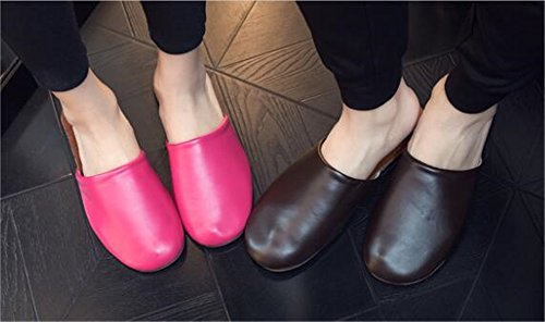 Wooden Slippers W Spring Autumn Men Rose Leather Mute Floor TELLW for Summer and PU Women nqUxBHwYf
