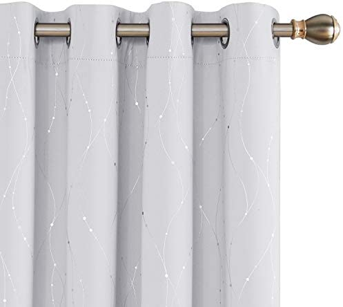 Deconovo White Blackout Curtains Wave Line with Dots Grommet Blackout Window Curtains for Bedroom 52 x 84 Inch Greyish White 2 Panels