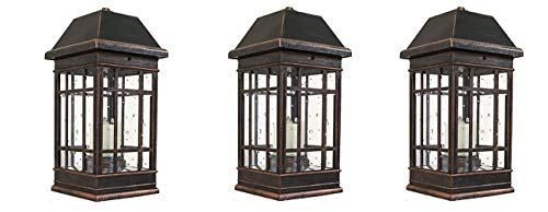 Smart Solar 3960KR1 San Rafael II Solar Mission Lantern Illuminated by 2 High Performance Warm White LEDs in The Top and One Amber LED in The Pillar Candle (Pack of 3) by Smart Solar (Image #2)