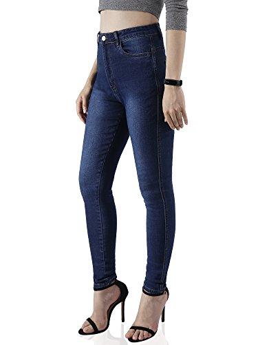 AUSERO para Azul Jeans alta Vaqueros mujer Cintura Slim PqgZUwaP