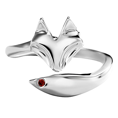 (Jewever S925 Sterling Silver Women Fox Tail Open Rings Fine Jewelry Inlaid Red Cubic Zirconia Gift)