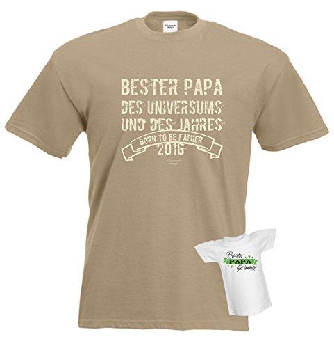 T-Shirt - Bester Papa des Universums Beige - lustiges Sprüche Shirt für Väter mit Humor - Geschenk Set zum Vatertag