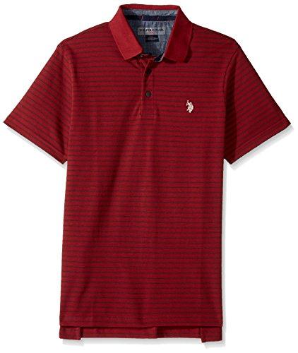 (U.S. Polo Assn. Men's Classic Fit Striped Short Sleeve Pique Polo Shirt, 8342-Apple Cinnamon, L)