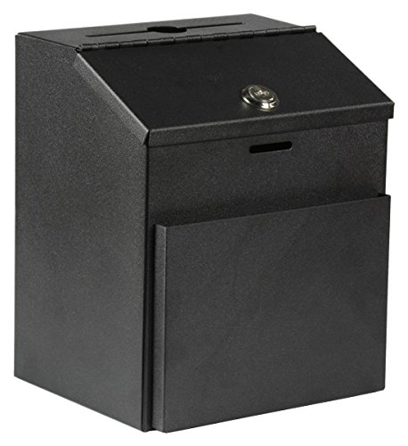 Displays2go Suggestion Box with Lock for Wall Mount or Tabletop Use, Locking Hinged Lid, Pocket for Donation Forms or Envelopes - Black (STBOXBLK) ()