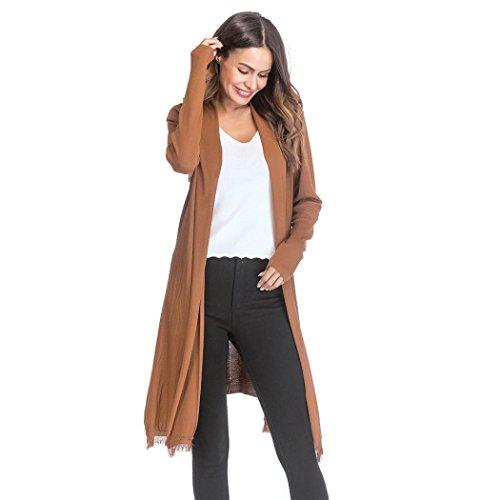- VEZAD Knit Tassel Cardigan Retro Long Sleeve Coat Women's Loose Gradient Solid