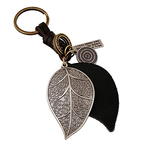 Funny live Alloy & Large Leaf Keychain Vintage Leather Braided Key Chain Genuine Leather Keychain Decorative Pendant for Men and Women Keys ()