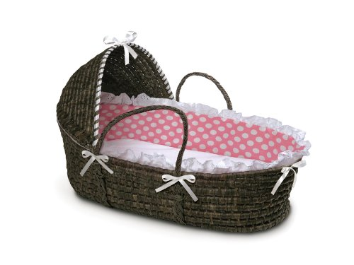 Badger Basket Hooded Moses Basket Espresso/Pink Polka Dot