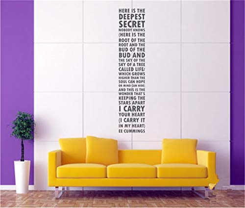 duyeidi Wall Sticker Removable Home Decor Wall Vinyl Decals Here is The Deepest Secret Nobody I Carry It in My Heart Ee Cummings for Living Room Bedroom ()