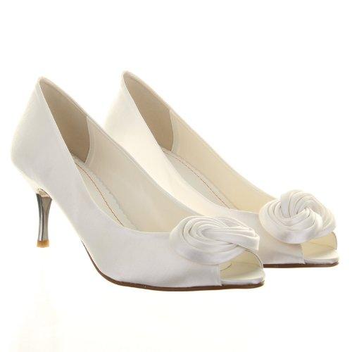 Elsa Brautschuhe Fizz Ivory Elfenbein Peeptoes Satin Wedding Shoes