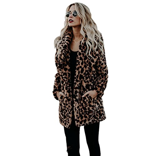 MSFGJZM Women's Winter Long Sleeve Coat Leopard Faux Fur Overcoat Lapel Jacket With Pockets Plus Size (2XL) - Leopard Faux Fur Coat