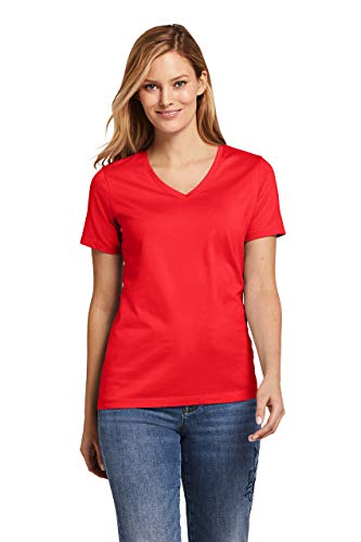 Lands' End Women's Relaxed Short Sleeve T-shirt Supima Cotton V-neck