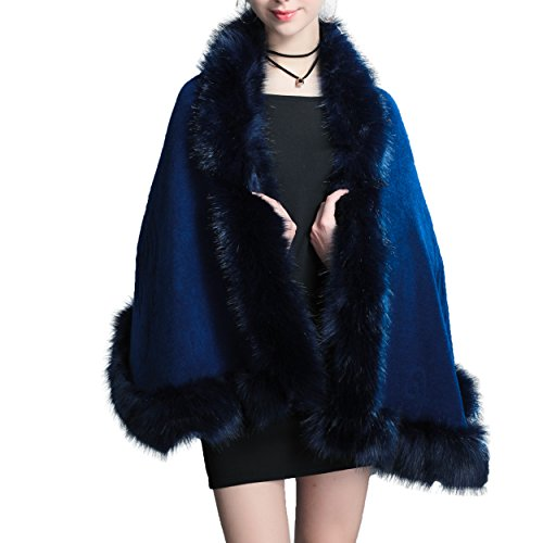 Blue Fox Fur Coat Jacket (Caracilia Women Bridal Faux Fur Shawl Wraps Cloak Coat Sweater Navy Blue)