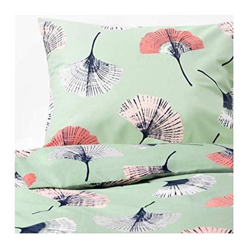 IKEA Tovsippa Duvet Cover and Pillowcases Green Floral Patterned Size: King - Cover Size Duvet Ikea King