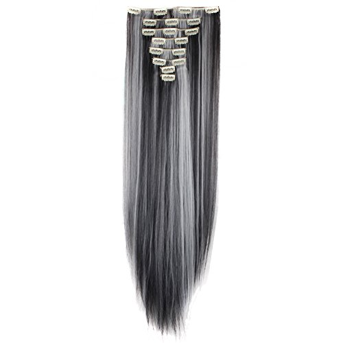 Price comparison product image LHFLIVE Womens 18 Clips 8pcs Full Head Hair Extensions 26 Inch Long Straight Natural Black mix Silver Grey Hairpiece