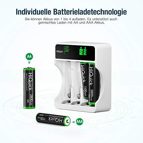 HiQuick Akku Ladegerät mit AA Akku 8 Stück, für Mignon AA, Micro AAA NI-MH wiederaufladbar Batterien, 4-Ladeplatz mit LCD Anzeige