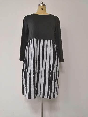 Longues Manches Bandes De Black De Les Mobiles Robes Coton 54waa6q