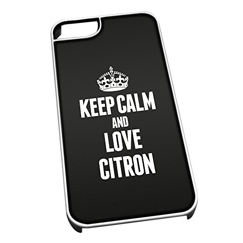Bianco per iPhone 5/5S 0968Nero Keep Calm And Love Citron