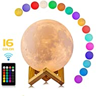 Moon Lamp, LOGROTATE 16 Colors 3D Print Moon Light with...