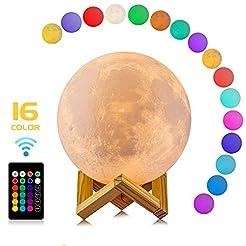 Moon Lamp, LOGROTATE 16 Colors LED 3D Pr...