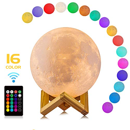 (Moon Lamp, LOGROTATE 16 Colors LED 3D Print Moon Light with Stand & Remote&Touch Control and USB Rechargeable, Moon Light Lamps for Kids Lover Birthday Fathers Day Gifts(Diameter 4.8 INCH))