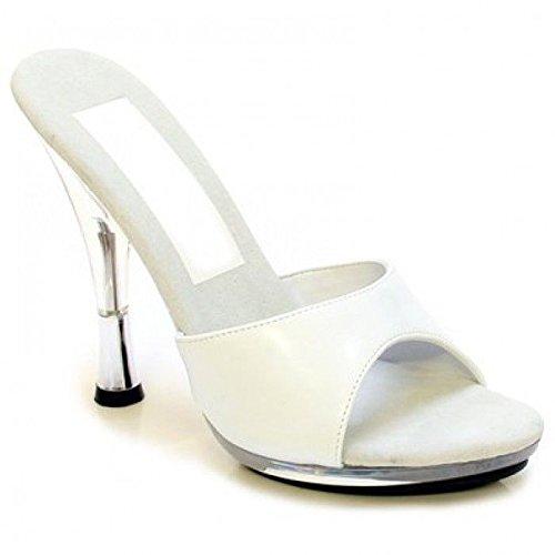 (506-5) Damesslippers Sexy Klassieke Mode 5-puntige Hak Slip Op Sandaal. Wit / Clear